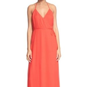 Frame Le Maxi Silk Chiffon Halter Wrap Dress S
